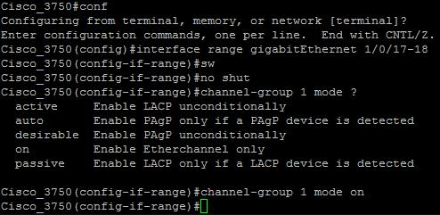 Cisco WS-C3750G-24TS EtherChannel Setup