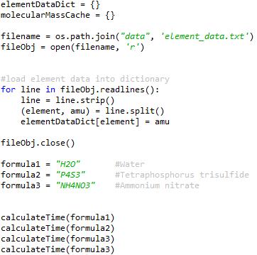 Python molecular mass test code