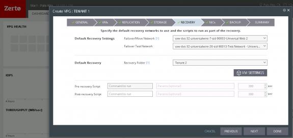 Figure 4: Configuring Default Network Mappings in Zerto