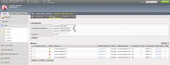 Pool List Members on Site 1 Palo Alto F5 BIG-IP DNS