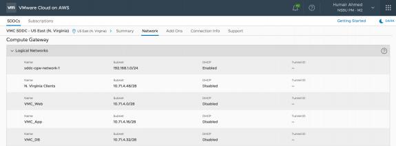 NSX Logical Networks in VMC SDDC in the US East (N. Virgina) Region