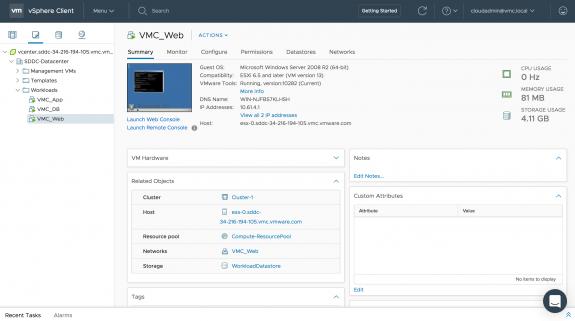 SDDC in US West (Oregon): Web VM on 'VMC_Web' NSX Logical Network