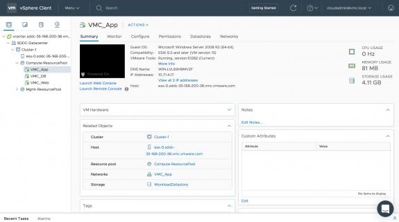 SDDC in US East (N. Virginia): App VM on 'VMC_App' NSX Logical Network