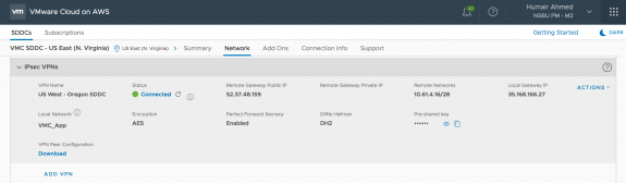 IPSEC VPN Configuration of SDDC in the US East (N. Virginia) Region